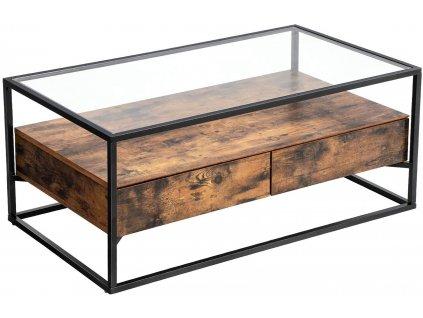 Konferenční stolek skleněný Industry hnědá/černá 106x57x45 cm