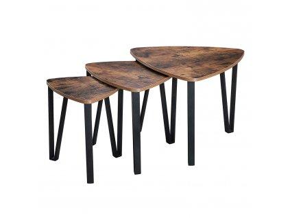 Konferenční stolek Industry hnědá/černá - 3ks