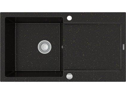 Mexen Leo dřez granitový, 1-komorový s odkapávačem, 900 x 500 mm - černá/ zlatá - metalická - 6501901010-75