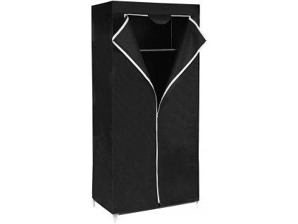 Látková šatní skříň černá - 160x75x45 cm