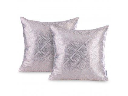 Povlak na polštář černá, out Caspe, stříbrně šedá/zlatá,  45x45 - 2 ks