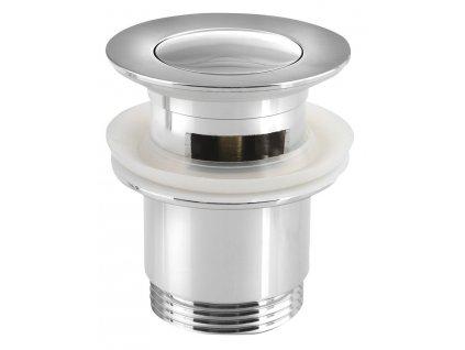 Uzavíratelná kulatá umyvadlová výpust click clack, malá zátka, V 30-50mm, chrom