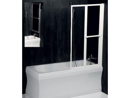 LANKA2 pneumatická vanová zástěna 830 mm, bílý rám, čiré sklo