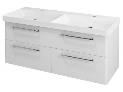 THEIA dvojumyvadlová skříňka 116x50x44,2cm, 4xzásuvka, bílá
