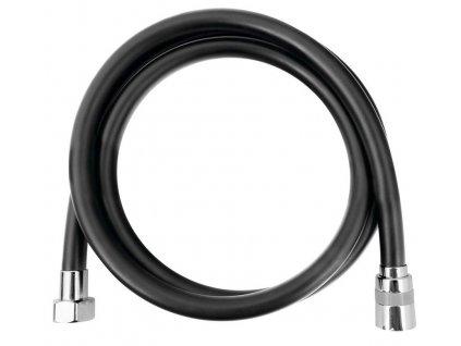 SOFTFLEX hladká sprchová plastová hadice, 150cm, černá mat/chrom