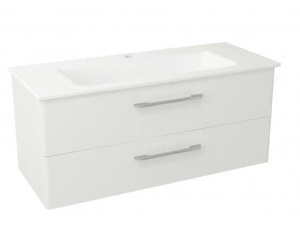 PURA umyvadlová skříňka, 2x zásuvka 117x50,5x48,5cm, bílá