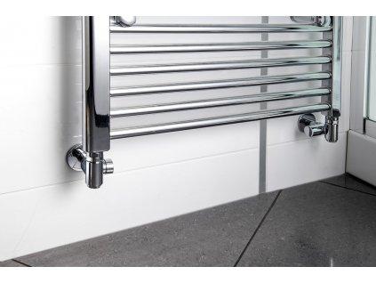 CORNER COMBI připojovací sada ventilů triaxiální, PRAVÉ provedení, chrom