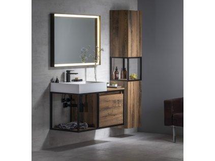 SORT LED podsvícené zrcadlo 100x70cm, matná černá