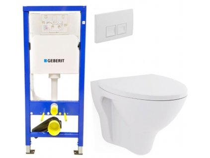 GEBERIT DuofixBasic s bílým tlačítkem DELTA50 + WC CERSANIT ARES + SEDÁTKO 458.103.00.1 50BI AR1