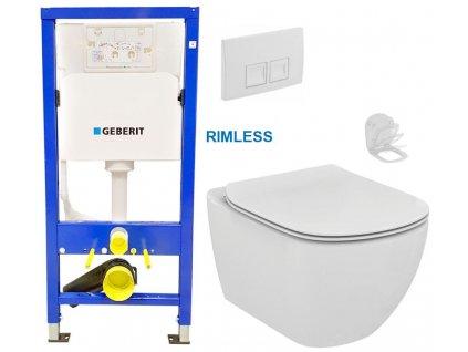 GEBERIT DuofixBasic s bílým tlačítkem DELTA50 + WC Ideal Standard Tesi se sedátkem RIMLESS 458.103.00.1 50BI TE2