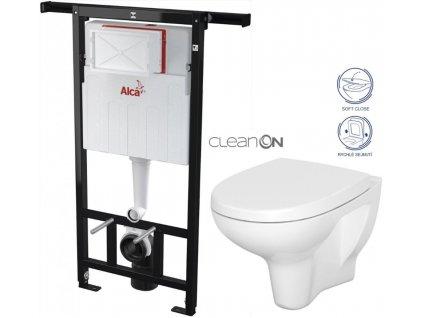 ALCAPLAST Jádromodul - předstěnový instalační systém bez tlačítka + WC CERSANIT ARTECO CLEANON + SEDÁTKO AM102/1120 X AT1