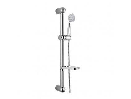 Sprchová souprava, pětipolohová sprcha, dvouzámková hadice, stavitelný držák, mýdlenka, plast/chrom