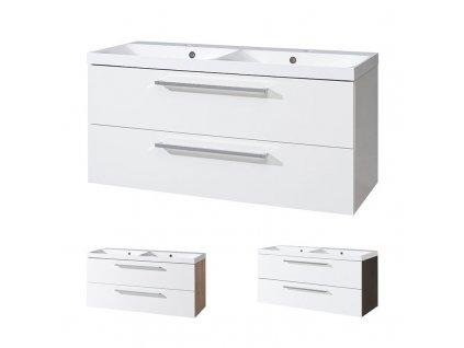 Bino koupelnová skříňka s dvoumyvadlem z litého mramoru 120 cm Bino koupelnová skříňka s dvouumyvadlem z litého maramoru, 120cm,  bílá/bílá