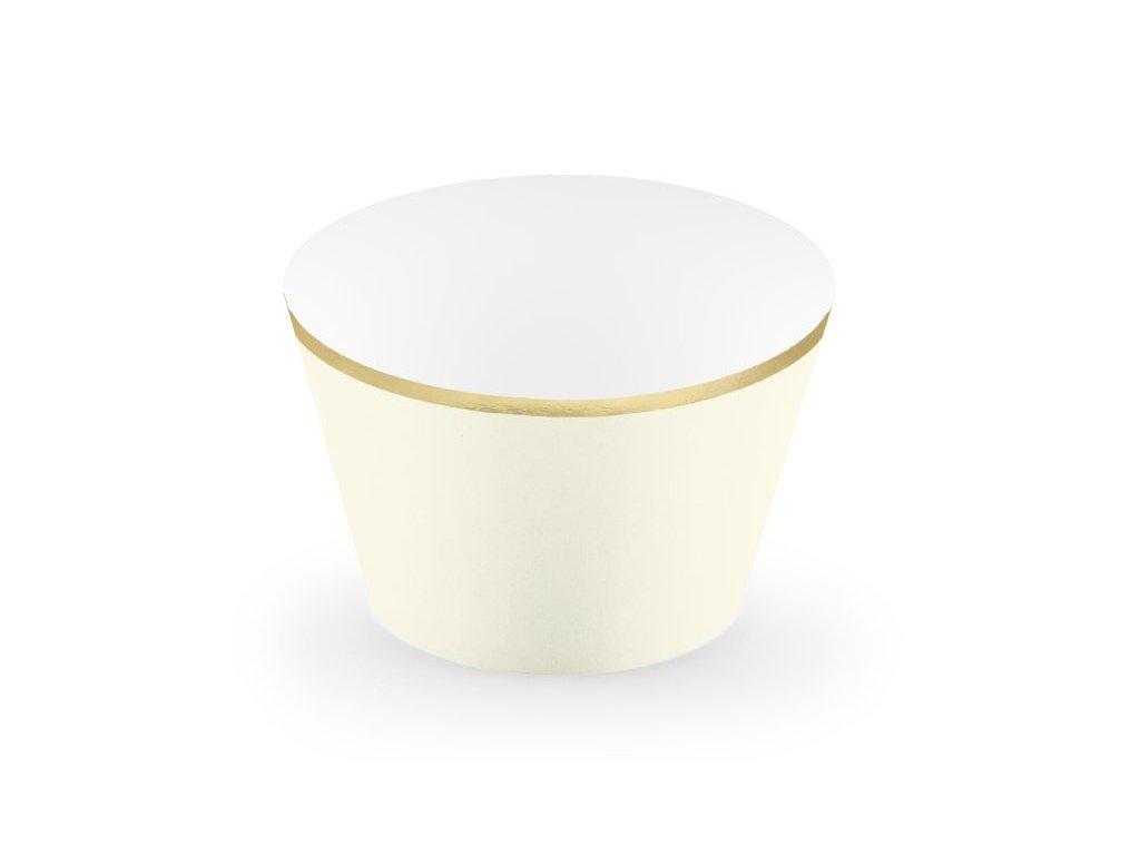 Dekorační košíčky krémové se zlatým lemem 6ks