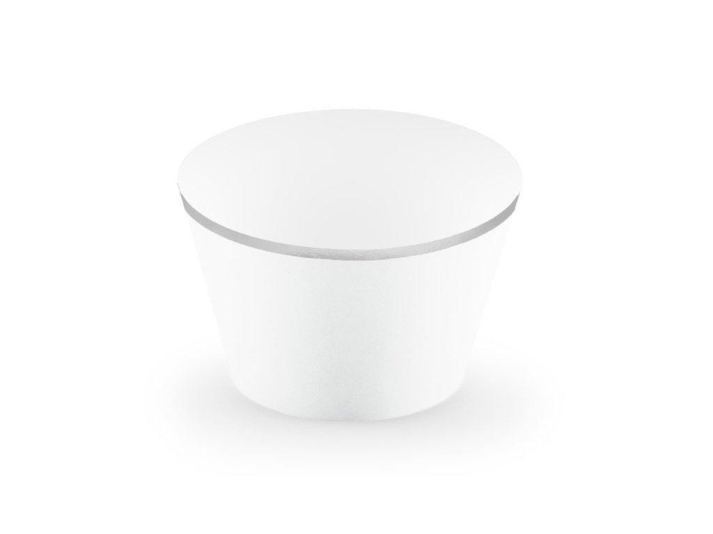 Dekorační košíčky bílé se stříbrným lemem 6ks