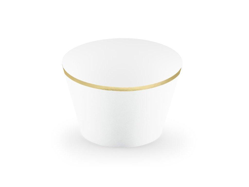 Dekorační košíčky bílé se zlatým lemem 6ks