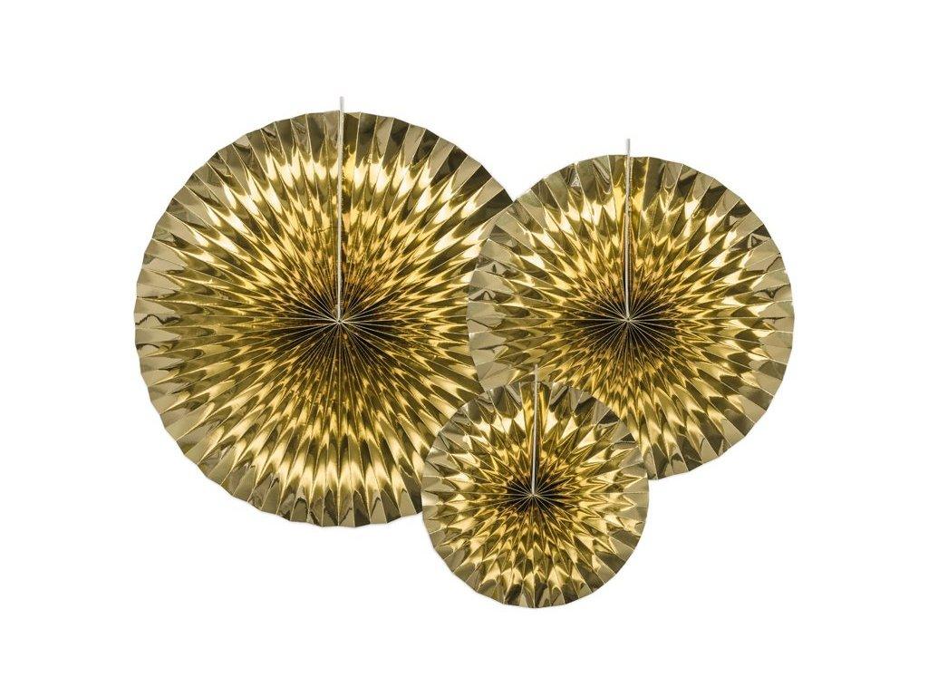 Dekorační rozety zlaté 3ks