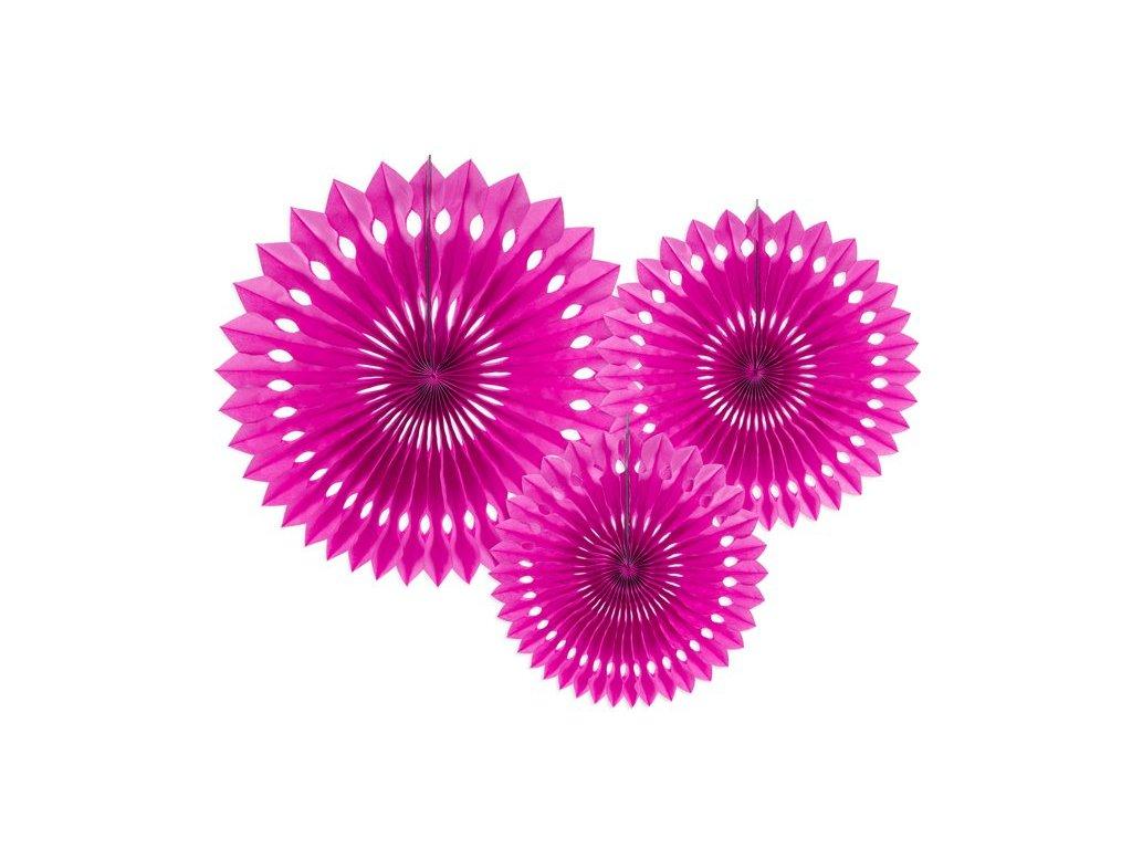 Dekorační rozety tmavě růžové 3ks