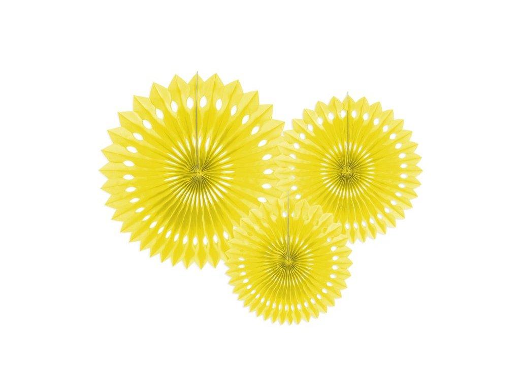Dekorační rozety žluté 3ks