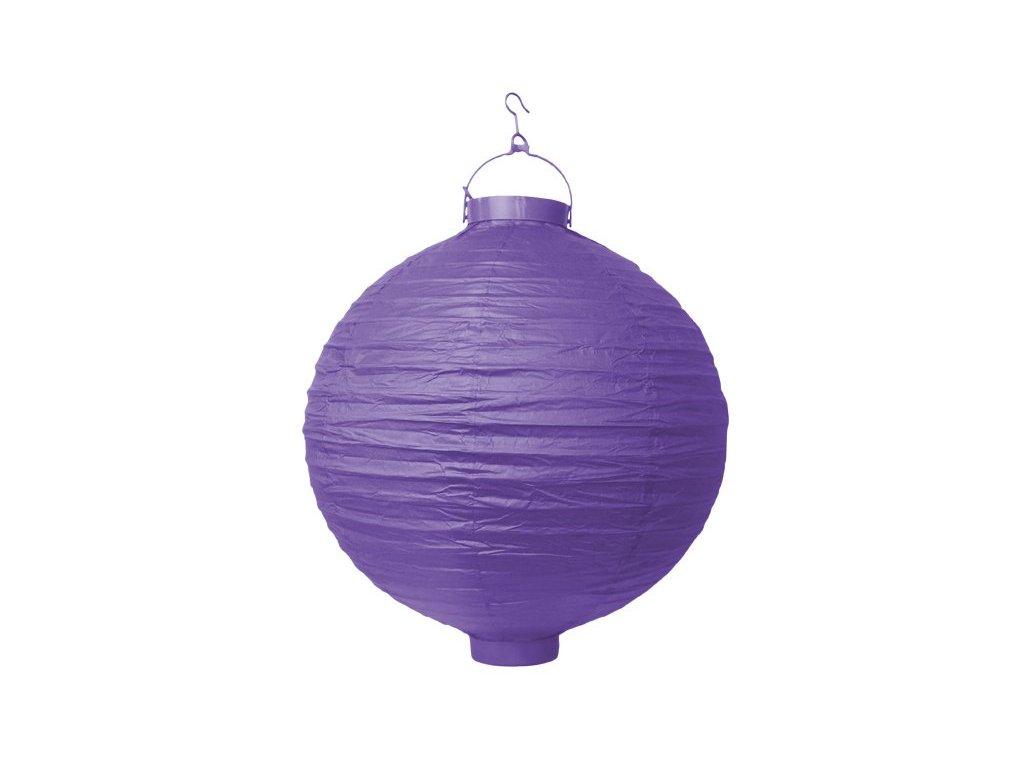 Lampion kulatý s diodou, 30cm, fialový