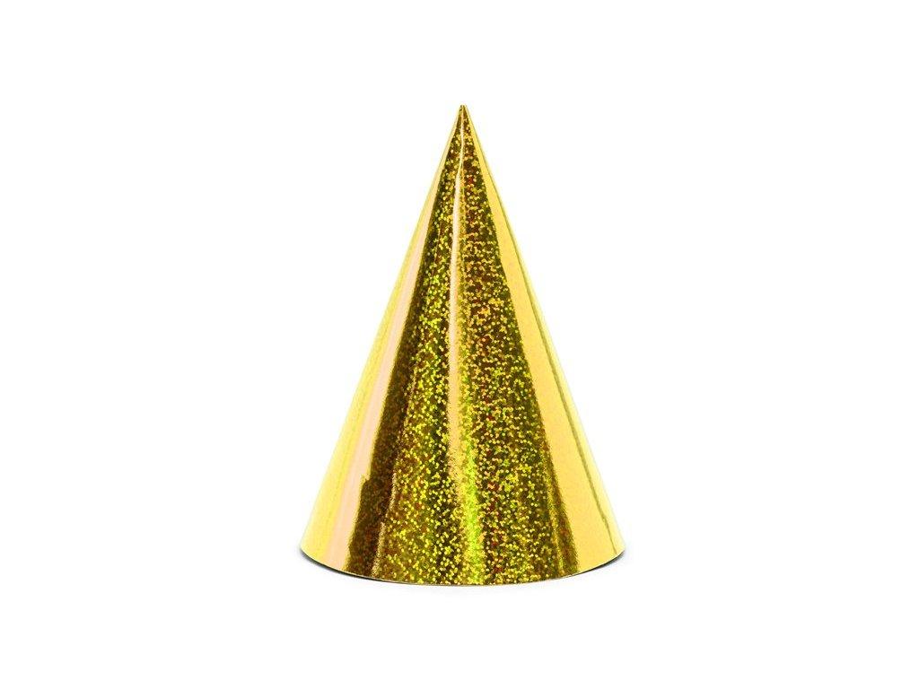 Zlaté holografické čepičky 6ks