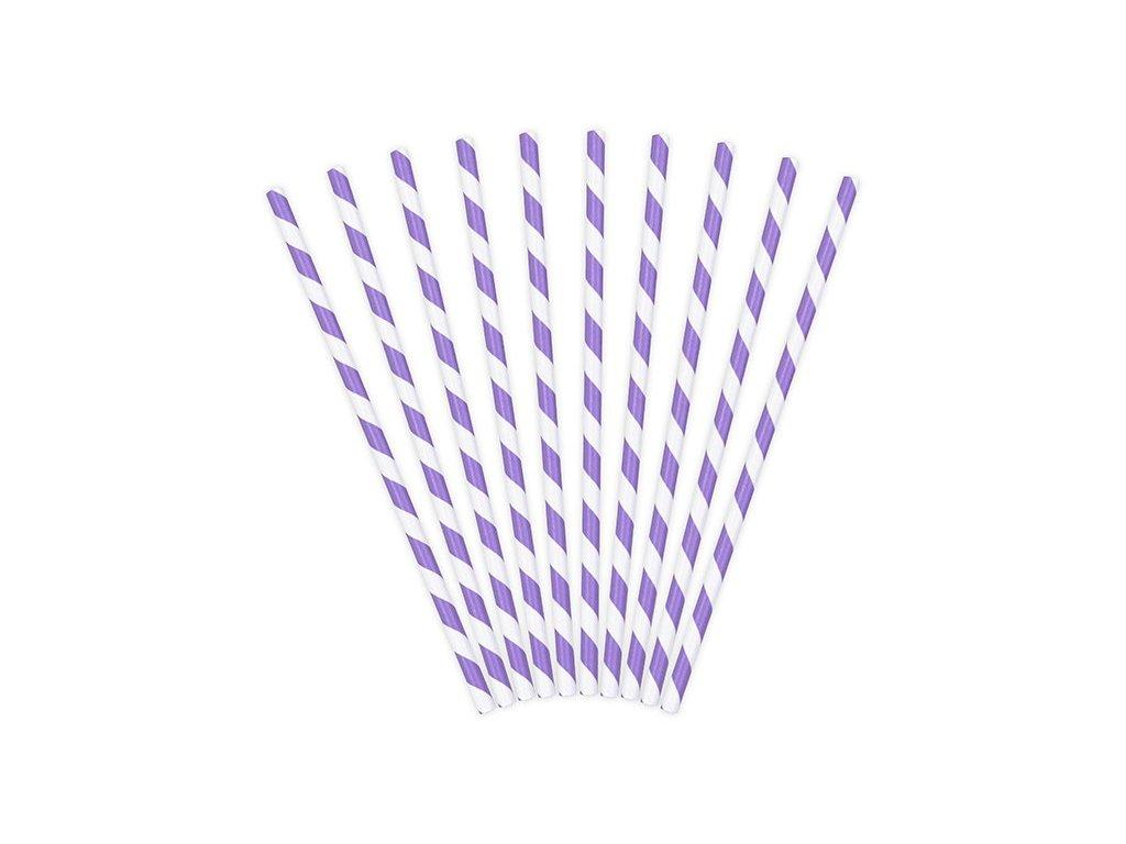 Papírová brčka lila s proužky 10ks