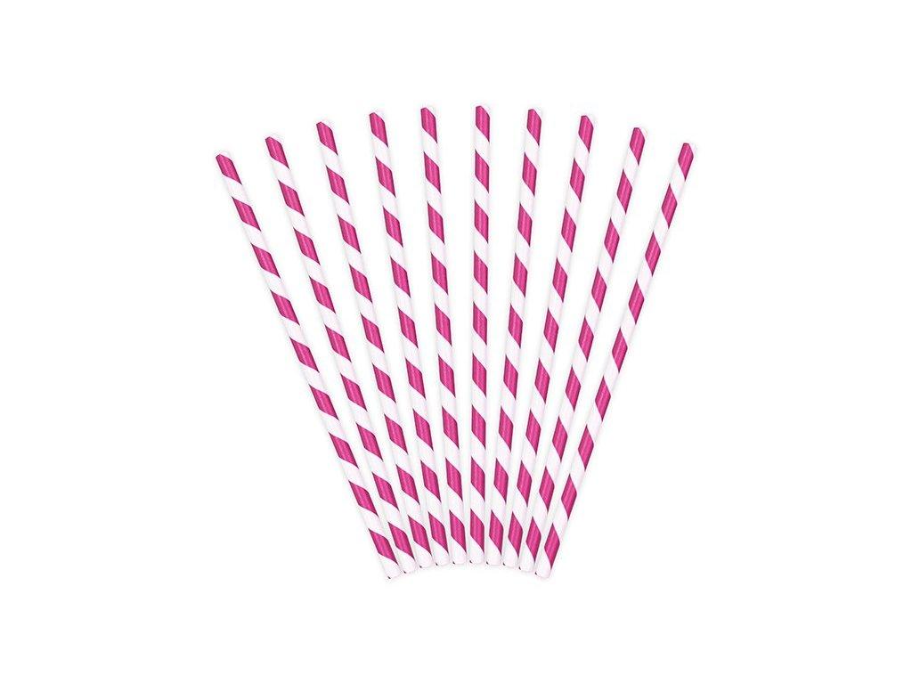 Papírová brčka tmavě růžová s proužky 10ks