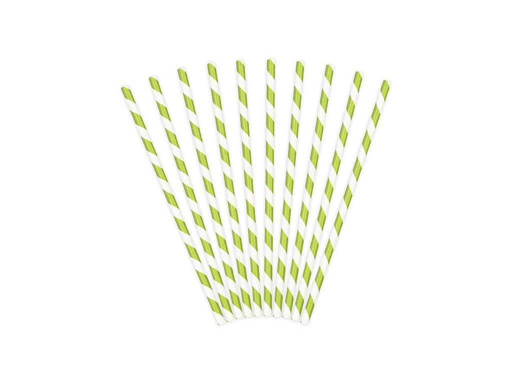 Papírová brčka zelená s proužky 10ks