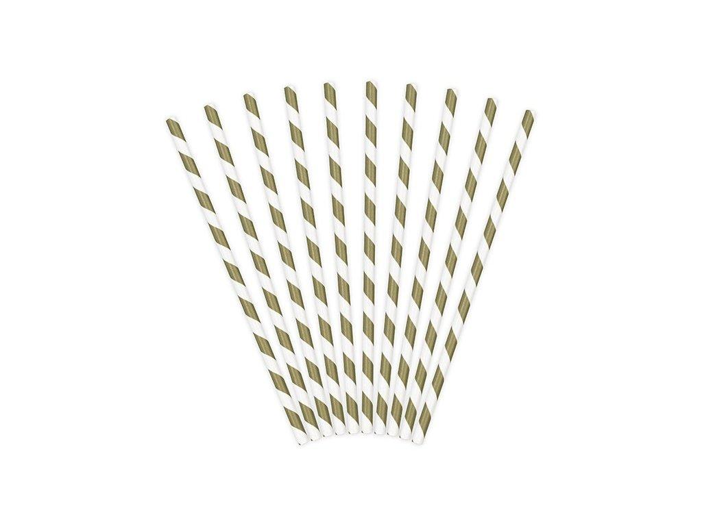 Papírová brčka zlatá s proužky 10ks