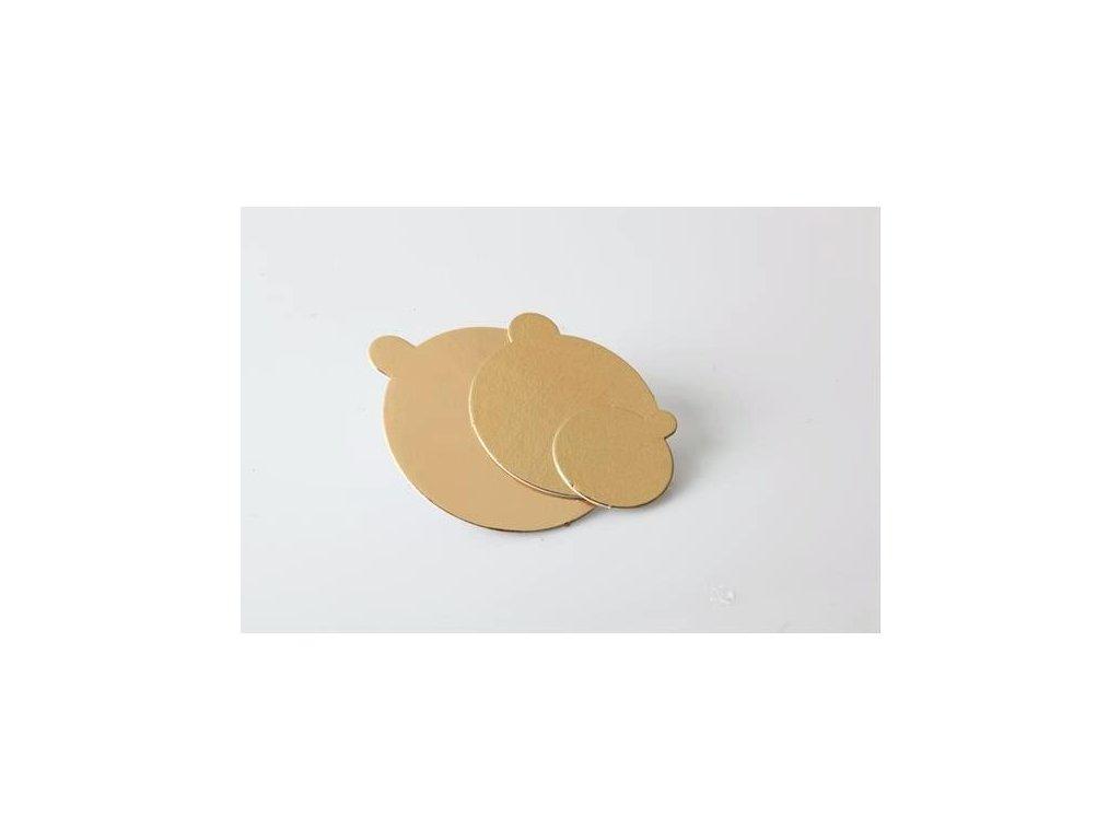 Tenká zlatá podložka na minidezert, pr. 8cm