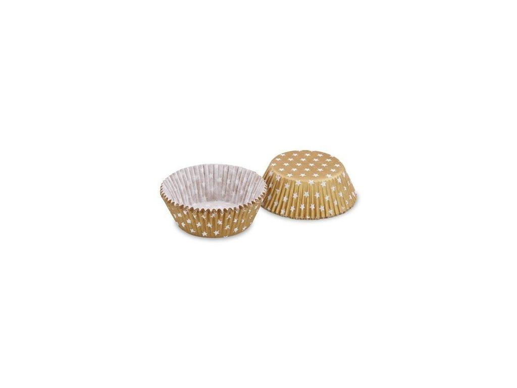 Cukrářské košíčky 50x30mm, zlaté s hvězdičkami, 40ks