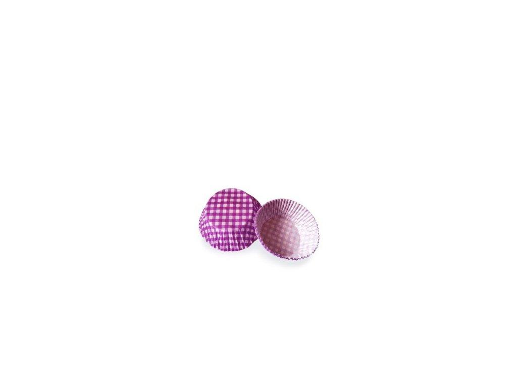 Cukrářské košíčky 50x30mm, fialové káro, 40ks