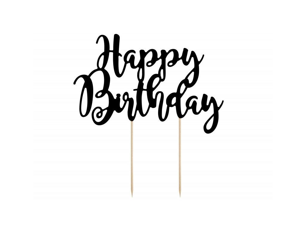 Zápich Happy Birthday černý