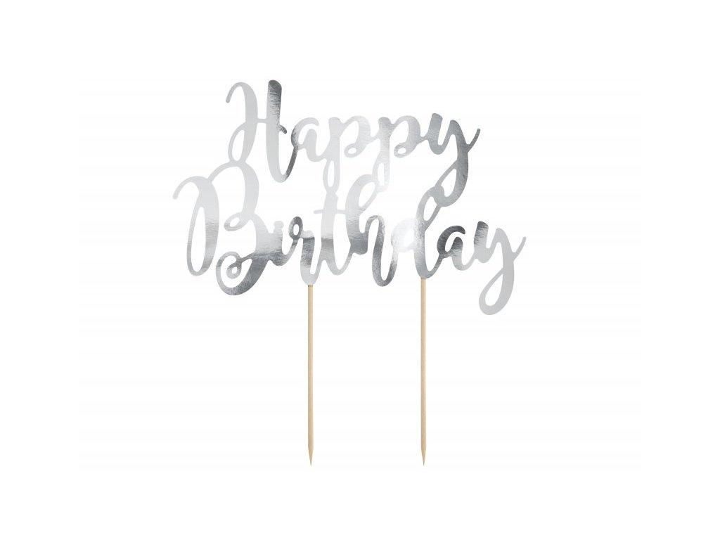 Zápich Happy Birthday stříbrný
