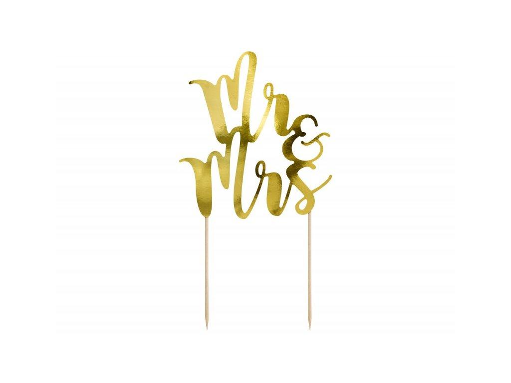 Zápich Mr&Mrs zlatý