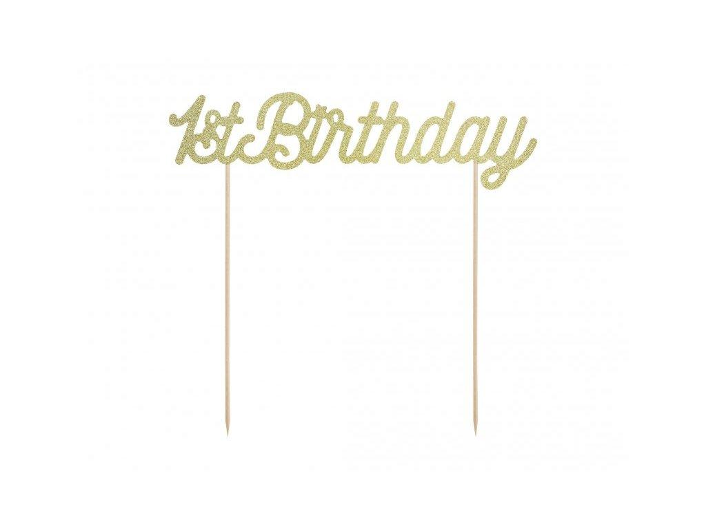 Zápich 1st Birthday zlatý glitrový