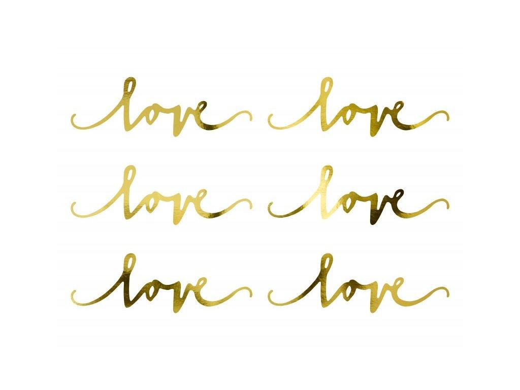 Dekorační nápis Love zlatý 6ks