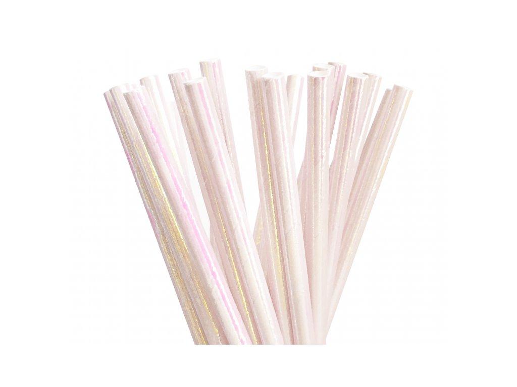 Papírová brčka bílá Iridescent 10ks