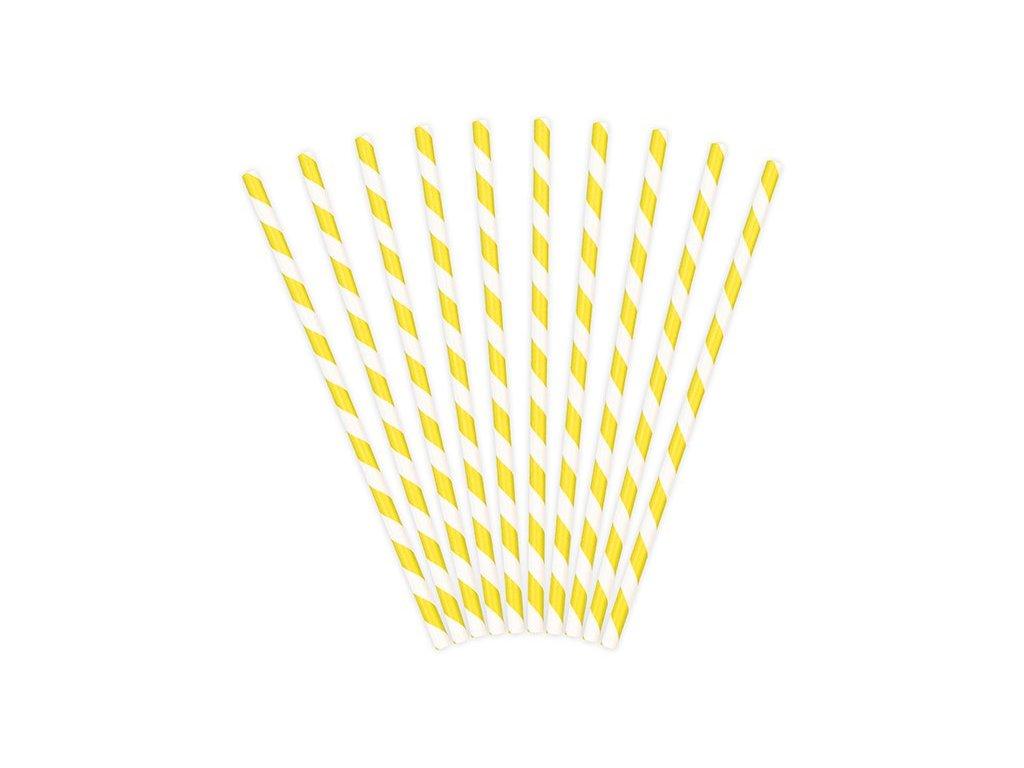 Papírová brčka žlutá s proužky 10ks