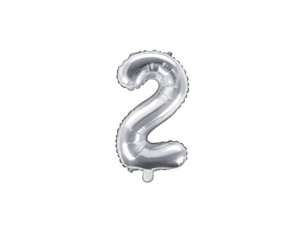 Balón fóliové číslo stříbrné 2