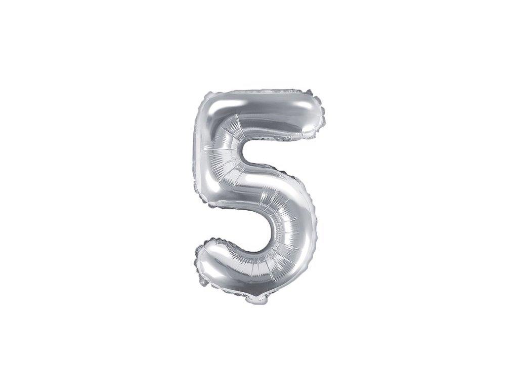 Balón fóliové číslo stříbrné 5
