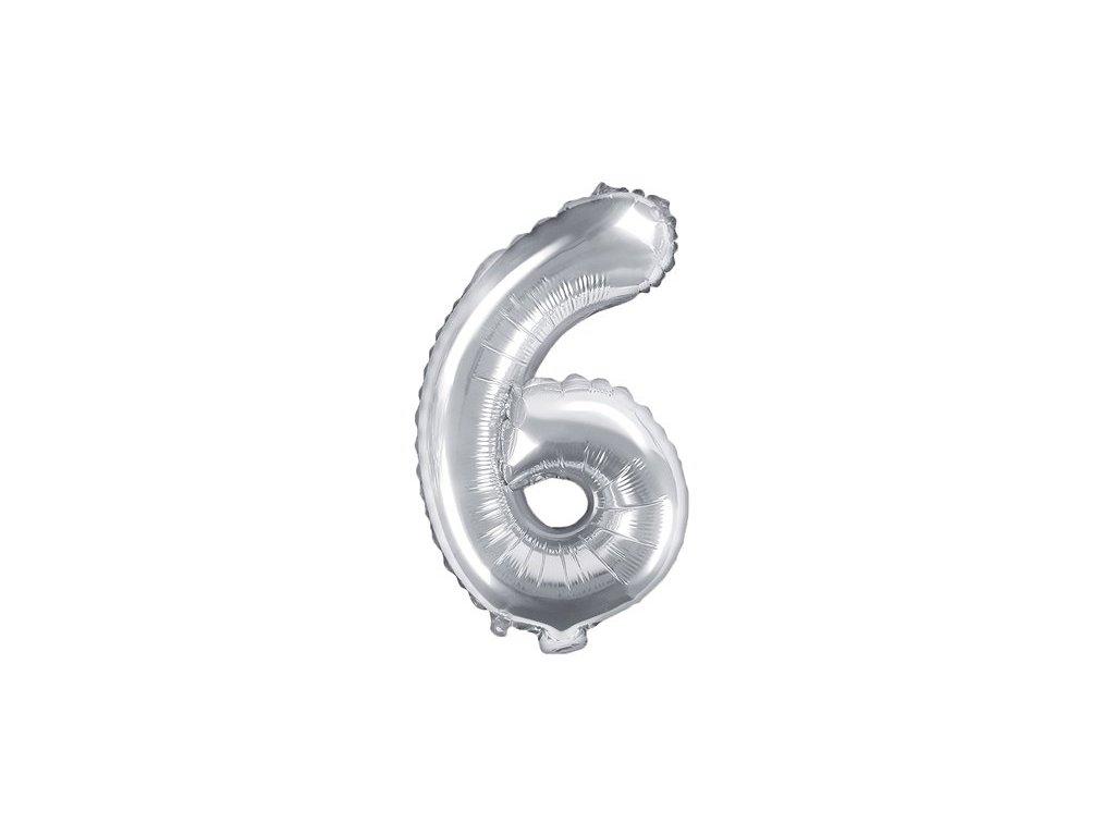 Balón fóliové číslo stříbrné 6