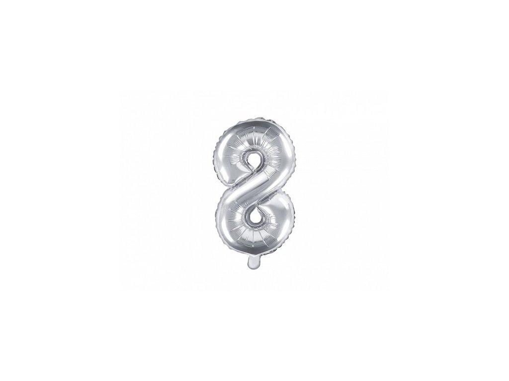 Balón fóliové číslo stříbrné 8
