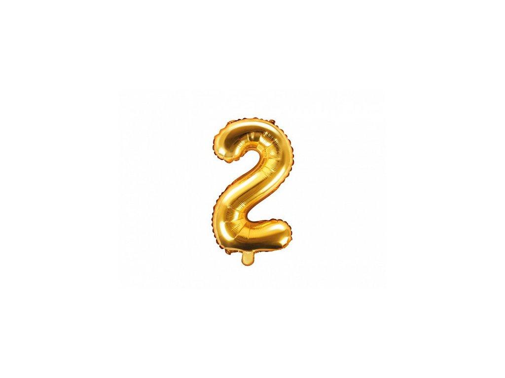 Balón fóliové číslo zlaté 2