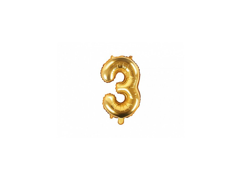 Balón fóliové číslo zlaté 3