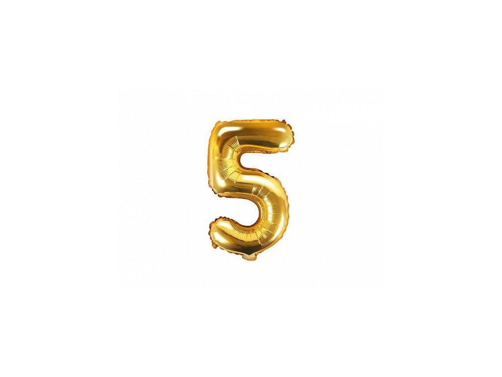 Balón fóliové číslo zlaté 5