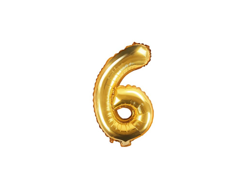 Balón fóliové číslo zlaté 6