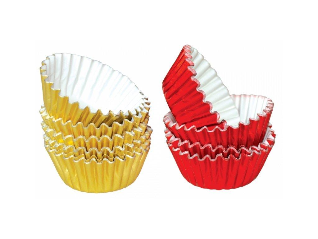 Alobalové košíčky na pralinky 25x17mm, zlaté a červené, 50ks