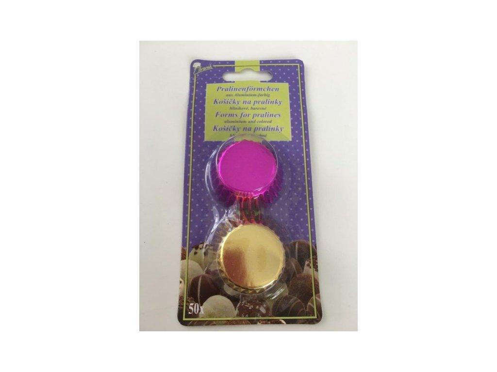 Alobalové košíčky na pralinky 25x17mm, zlaté a růžové, 50ks