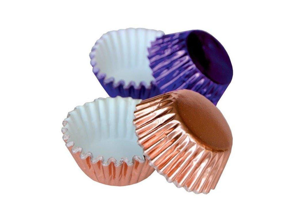 Alobalové košíčky na pralinky 25x17mm, fialové a bronzové, 50ks